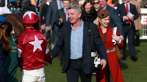 Owner Michael O'Leary congratulates jockey Paul Carberry (left) after Very Wood's win. Photograph: David Davies/PA Wire