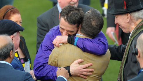 Davy Russell celebrates with trainer Jim Culloty after winning on Lord Windermere in the Gold Cup. Photograph: Tim Ireland/PA Wire