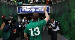 Brian O'Driscoll leaves the pitch after his final home for Ireland last week against Italy.