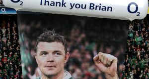 Last Saturday's occasion at the Aviva stadium was at once hugely gratifying and mildly embarrassing for Brian O'Driscoll and nobody can accuse the IRFU of allowing the occasion to slide by unnoticed. Photograph: Inpho
