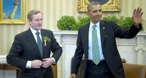Taoiseach Enda Kenny meeting US president Barack Obama in the Oval Office of the White House yesterday. Photograph: Getty