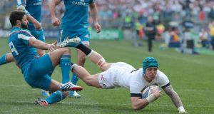 England's Jack Nowell scores the  fourth try in Rome.  Photograph: Morgan Treacy/Inpho