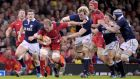 Wales' Alun Wyn Jones is tackled during the Six Nations win over Scotland   at the Millennium Stadium. Photograph:  Tim Ireland/PA Wire