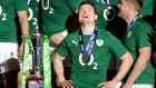 Ireland's Brian O'Driscoll  after winning the Six Nations title on his last outing in an Ireland jersey. Photograph: Andrew Matthews/PA Wire