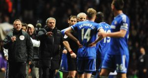 Jose Mourinho  protests to referee Chris Foy during the Barclays Premier League match between Aston Villa and Chelsea at Villa Park. Photograph:   Chris Brunskill/Getty Images
