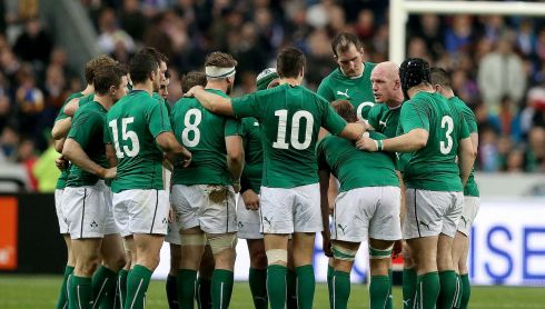 The Ireland team huddle. Photograph: Dan Sheridan/Inpho