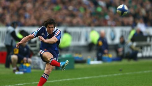 Maxime Machenaud did some early damage with the boot for France.  Photograph:  Paul Gilham/Getty Images