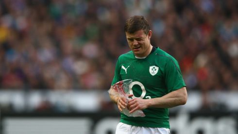 Warhorse: Brian O'Driscoll nurses a wound during the first half.  Photograph:  Paul Gilham/Getty Images