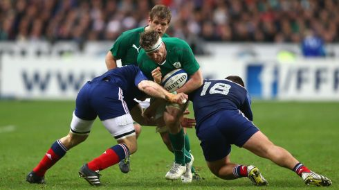 Jamie Heaslip is tackled by Rabah Slimani.  Photo: Paul Gilham/Getty Images
