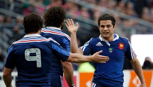 France's Brice Dulin (right) responded with a try in the corner. Photograph: Benoit Tessier/Reuters