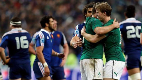 Ireland's Andrew Trimble (right) celebrates with teammates after defeating France during their Six Nations rugby union match at the Stade de France in Saint-Denis. Photograph: Gonzalo Fuentes/Reuters