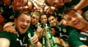 Cian Healy's selfie of the Championship winning team after the game. He posted the picture on his twitter account @ProperChurch saying 'Enough is enough'. Photograph: Cian Healy @ProperChurch