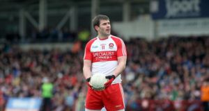 Derry captain Mark Lynch was in fine form against Dublin this afternoon. Photograph: Lorcan Doherty/Presseye/Inpho