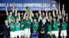 The Ireland team celebrate after collecting the Six  Nations Championship title at  Stade de France, Paris. Photograph: Dan Sheridan/Inpho