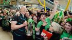 Paul O'Connell shows off the Six Nations Championship trophy at Dublin Airport. Photograph: Alan Betson / The Irish Times