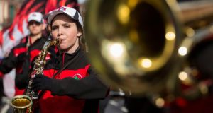 Members of the Fort Madison High School Bloodhound Marching Band, Iowa, USA who won the Best Musical Peformance. Photograph: Alan Place/FusionShooters.