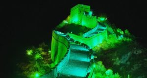 A section of the Great Wall of China is being lit up in green for St Patrick's Day