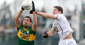 Kerry's Anthony Maher and Gary White of Kildare in action during the league clash at St Conleth's Park, Newbridge. Photo: James Crombie/Inpho