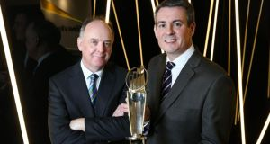 Liam Kavanagh, Irish Times managing director, and Frank O'Keeffe, partner in charge of the EY Entrepreneur of the Year