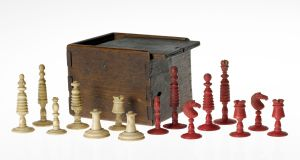 A chess set believed to have been used by Daniel O'Connell and Richard Lalor Sheil while imprisoned in Kilmainham in 1844.