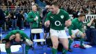 Rory Best, Cian Healy and Jordi Murphy celebrate at the final whistle. Photograph: Dan Sheridan/Inpho