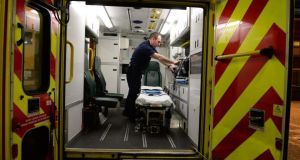 An ambulance is prepared by Colm Murphy at Tara Street fire station in Dublin. Photograph: Cyril Byrne