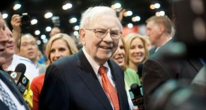 Billionaire businessman Warren Buffett at Berkshire Hathaway's 2013 shareholders' meeting in Omaha, Nebraska, last May. Berkshire is Buffett's investment vehicle and runs a multi-billion dollar insurance operation. photograph: daniel acker/bloomberg