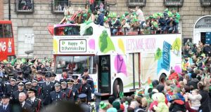 The St Patrick's Day parade makes its way through  Dublin today. Photograph: Cyril Byrne/The Irish Times.