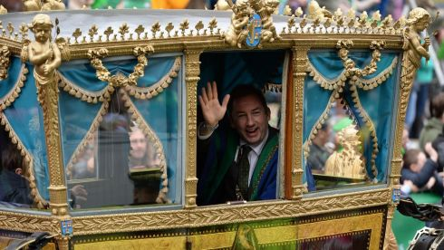 The Lord Mayor of Dublin Oisin Quinn at the  parade in Dublin. Photograph: Cyril Byrne / The Irish Times