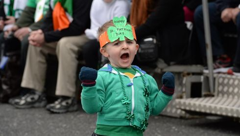 A young man enjoying the parade in Dublin. Photograph: Cyril Byrne.