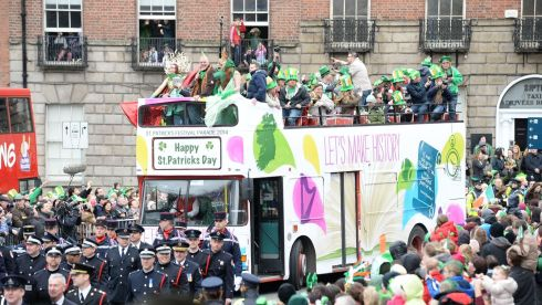 One of the vehicles taking part in the St Patrick's  Day parade in Dublin. Photograph: Cyril Byrne.