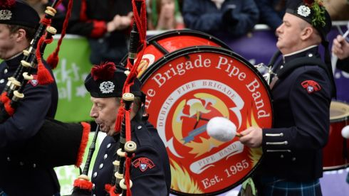 Members of the Dublin Fire Brigade Pipe Band take part in the St Patrick's Day parade in Dublin. Photograph: Cyril Byrne.