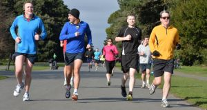 Runners at St Anne's parkrun, Dublin. Photograph: Alan Betson