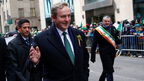 Taoiseach Enda Kenny marches up 5th avenue during the St. Patrick's Day parade in New York Photograph: Shannon Stapleton/Reuters.