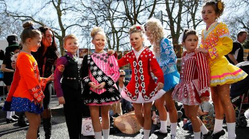 Irish dancers get ready for the London parade. Photograph: Olivia Harris/Reuters