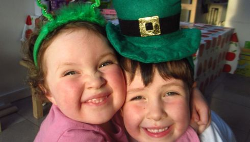 Matthew and Anna Fox celebrating St Patrick's Day in Reading, England.