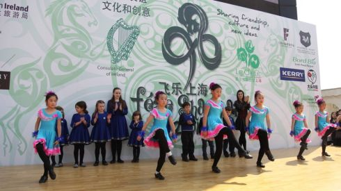 A troupe of young dancers perform at the 8th annual St Patrick's Day celebrations in Shanghai.