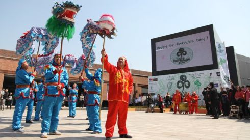 The Chinese dragon with the green beard performs at Féile Shanghai 2014.