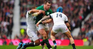 Cian Healy on the charge against England at Twickenham.