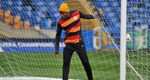 Galatasaray striker Didier Drogba attends a club training session at Stamford Bridge, London. Chelsea play against the Turkish side in the last 16 second-leg match this evening. Photograph: EPA/Facundo Arrizabalaga