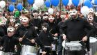 Members of Galway's Funky Drums taking part in the St Patrick's Day parade in Galway city. Photograph: Joe O'Shaughnessy.