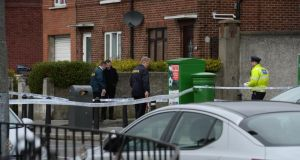 Gardai have sealed off the scene on Faussagh Avenue, Cabra in Dublin this morning to investigate the death of a man in his 20s. Photograph: Dara Mac Dónaill/The Irish Times