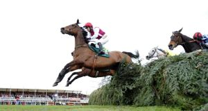 Seabass, ridden by Katie Walsh, leads at the last before finishing third to Neptune Collonges in 2012, but will miss this year's race because of ligament damage.