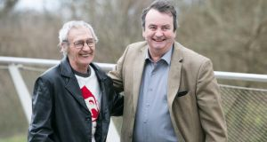 Paddy Hill and Gerry Conlan  at UL before  delivering an address on their experiences as victims of miscarriages of justice.  Photograph: Brian Gavin Press 22