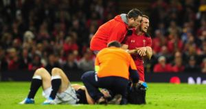Wales captain Sam Warburton  receives treatment during the  Six Nations match against Scotland at the Millennium Stadium. Photograph: Stu Forster/Getty Images