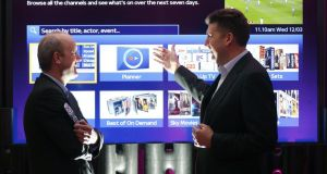 Sky Ireland's director of sales and marketing Mark Anderson (left) and Alun Webber, Sky's MD of product design and development, in front of the new Sky home page