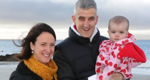 Barry Casserly, who needed a liver transplant with his wife, Elizabeth, and their daughter, Annie (1), at Salthill in Galway. Photograph: Joe O'Shaughnessy