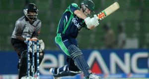 Ireland's Ed Joyce swings the bat during his innings of 43 from 38 deliveries in the ICC World Twenty20 game against the UAE in Sylhet, Bangladesh. Photograph:  Pal Pillai-IDI/IDI via Getty Images