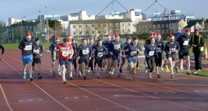 The Irish Dairy Board mile in aid of Goal at Irishtown stadium just before last Christmas. Photograph: Brenda Fitzsimons