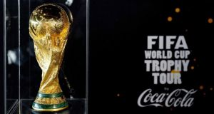 The Fifa  World Cup trophy  at Schiphol Airport in Amsterdam. Photograph: Koen van Weel/EPA